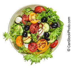 Fresh salad with tomato and mozzarella