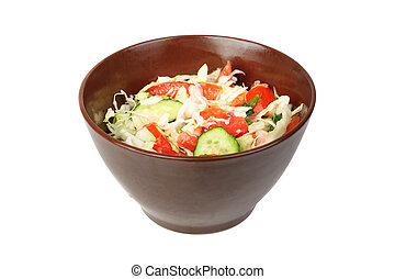 fresh salad with tomato, cabbage and cucumber on bowl isolated on white
