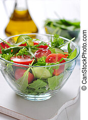 fresh salad with tomatoes cherry