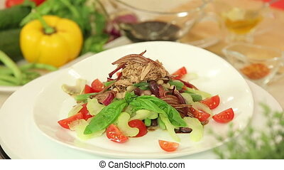 Fresh salad with tuna and beans