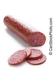 fresh salami on white background