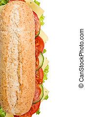 Fresh salami submarine sandwich on white