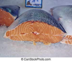 salmon cut for sale at the central market