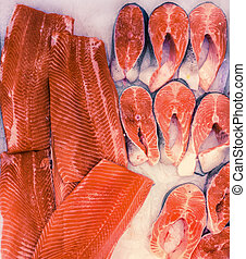 fresh salmon fillets and steaks