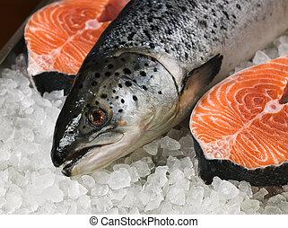 Fresh salmon - Fresh red fish on ice