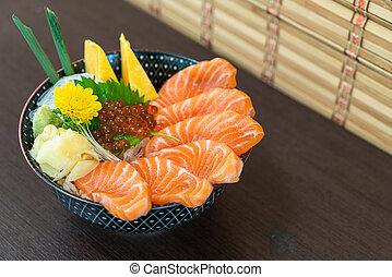 fresh salmon on topped rice bowl (donburi)
