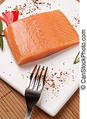Fresh Salmon on white square dish