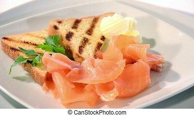 Fresh salmon rotating