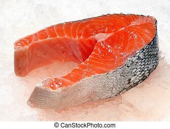 salmon steak on ice