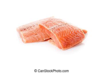 fresh salmon steak over white background - fresh salmon...