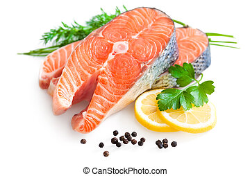 fresh salmon with parsley and lemon slices - fresh salmon...