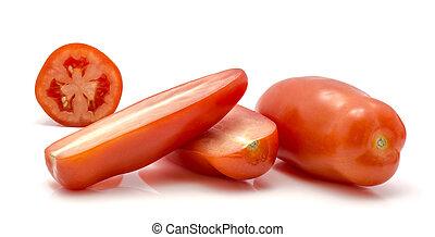Fresh san marzano tomato isolated on white