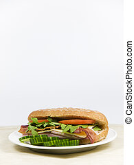 fresh sandwich on a white plate