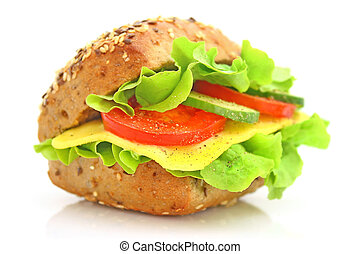 Fresh sandwich with cheese and vegetables