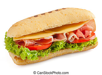 Fresh sandwich with ham and cheese