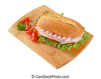 fresh sandwich with ham