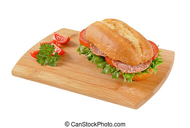 fresh sandwich with salami