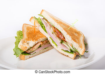Fresh sandwiches on a white plate
