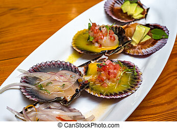 fresh scallops new peruvian cuisine style