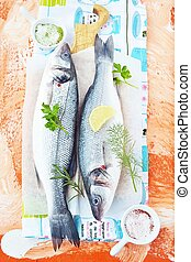 fresh sea bass with herbs - sea bass with potherbs