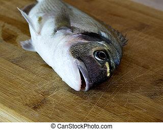 Fresh sea bream fish on wooden board