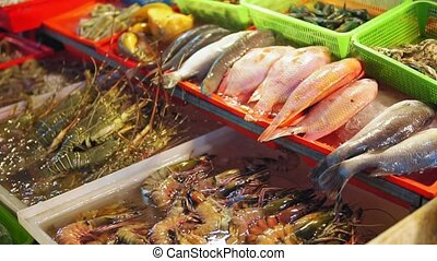 Fresh sea fish, shrimps, spiny lobsters, shellfish on the counter at seafood market in Asia
