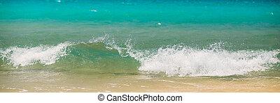 Fresh Sea Ocean Waves washing yellow sand background