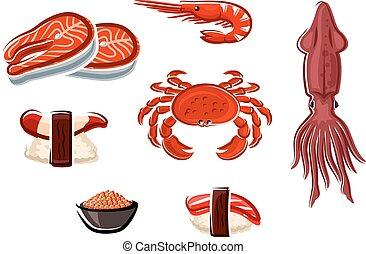 Fresh seafood and sea animals - Fresh salmon steaks, crab,...