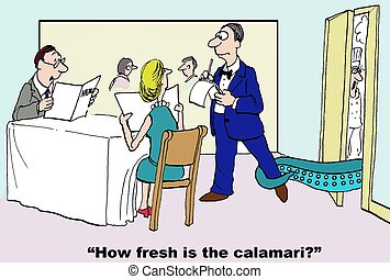 Fresh Seafood - Cartoon of man asking waiter how fresh is...
