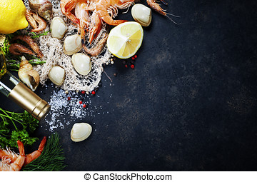 Fresh seafood - Delicious fresh fish and seafood on dark...