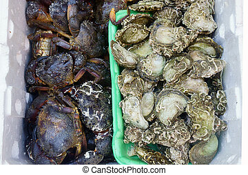fresh seafood, fish on the market
