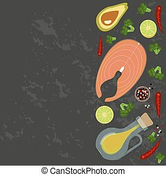 Fresh seafood flat design