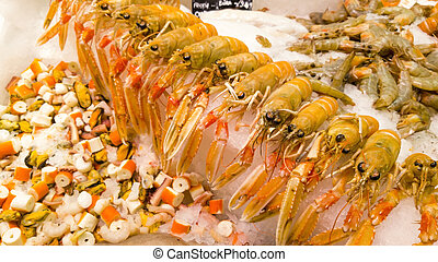 Seaside seafood sale  A fresh catch of fish for sale on a