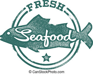 Fresh Seafood Menu Stamp - Fresh Fish and seafood stamp.