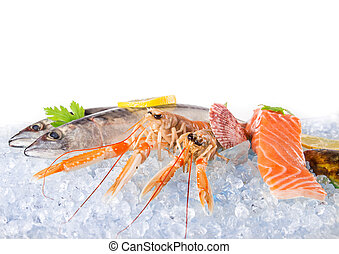 Fresh seafood on crushed ice.
