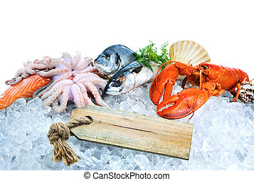 Fresh seafood on crushed ice