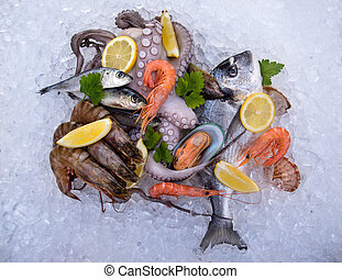 Fresh seafood on ice, close-up.
