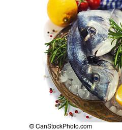 fresh seafood on ice - fresh seafood and vegetables on ice -...