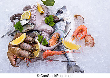 Fresh seafood on ice, close-up.