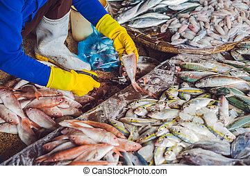 Fresh seafood on the Vietnamese market. Asian food concept.