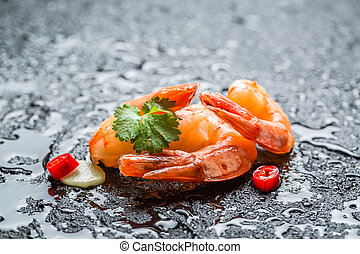 Fresh seafood ready to eat