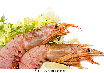 fresh seafood, shrimps and crustaceans