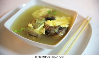 Fresh Asian style seafood soup served hot