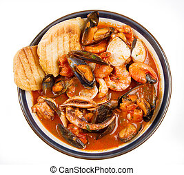 fresh seafood soup with roasted bread