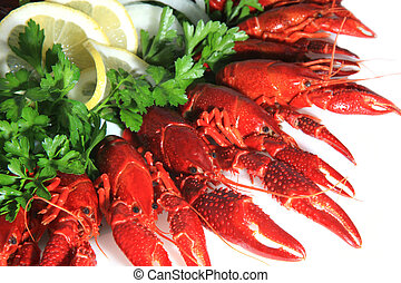 Fresh seafood with herb and lemon on a plate