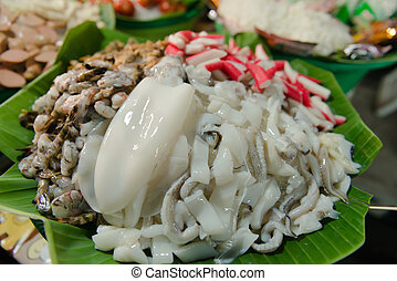 Fresh Seafoods Displayed at a Traditional Eatery in Southeast Asia