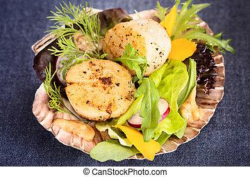 Fresh seared sea scallops salad with mango, radish, avocado on scallop shell