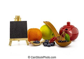 Fresh seasonal fruit still life with berries