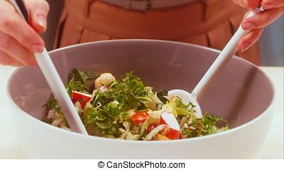Fresh seaweed salad with crab sticks
