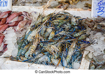 Fresh shrimp in market of Thailand